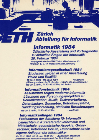 ETH Department of Computer Science 1984